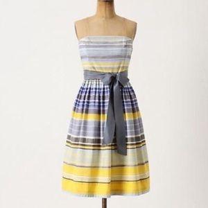 Anthropologie Maeve Paraiso stripe strapless dress